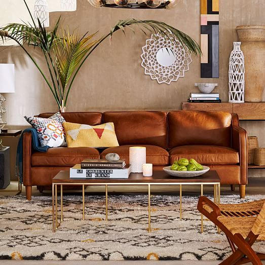 Sofa da thật tphcm màu cam đất cho phong khách thêm ấm áp
