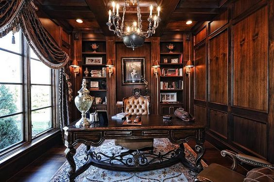 cozy home office victorian and gothic interior style