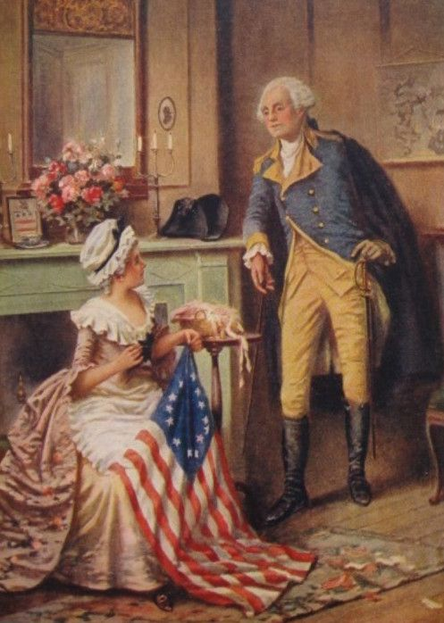 George Washington With Betsy Ross and New Flag artist unknown