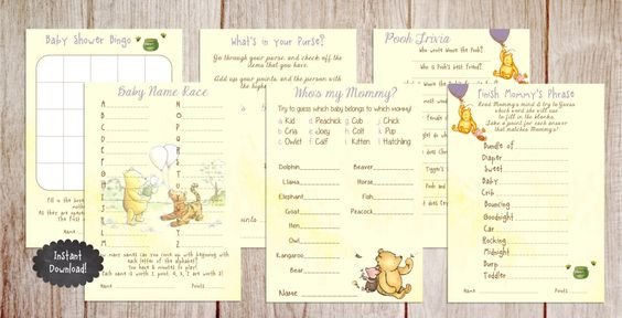 Printable Winnie the Pooh Baby Shower Game Package, Classic Winnie the Pooh, Baby Shower Game by PoppinPaperParties on Etsy https://www.etsy.com/listing/215491633/printable-winnie-the-pooh-baby-shower
