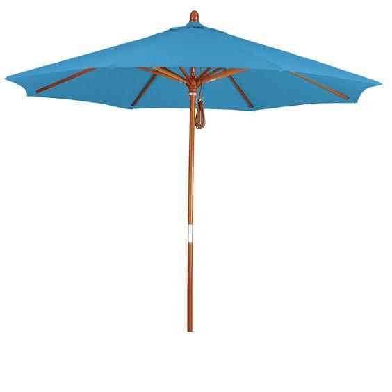 Eclipse Collection 9' Wood Market Umbrella Pulley Open Marenti Wood/Pacifica/Capri