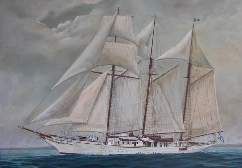 ''Eugenios Eugenidis'' ex ''Sunbeam'', painting delaporta: Painting Delaporta, Beautiful Sails, Tall Ships, Boats And Ships, Sunbeam Painting, Sails Ship, Eugenios Eugenidis, Boats Sail