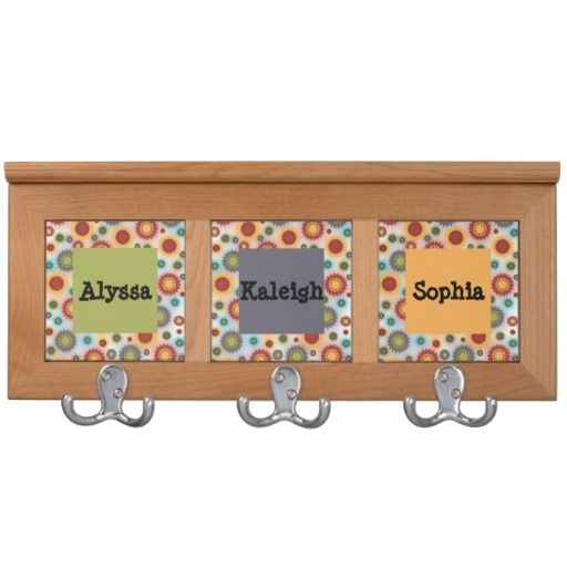 """Colorful personalized floral coat rack.  16.5"""" x 7.125"""" x 1.5"""".  Made of high quality Alderwood.  http://www.zazzle.com/floralsunshine?rf=238200194340614103"""