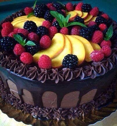 Fruity covered chocolate cake