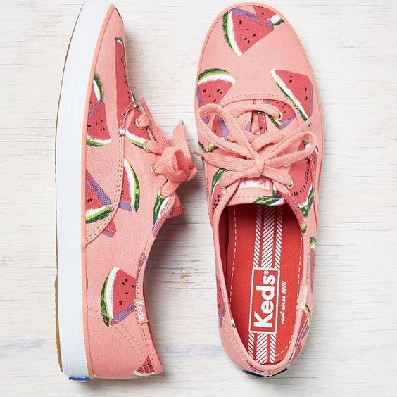 Keds Champion Fruit Sneakers ($40) ❤ liked on Polyvore featuring shoes, sneakers, wild watermelon, laced shoes, laced up shoes, lace up shoes, canvas lace up sneakers and lips shoes