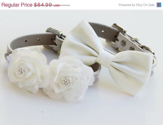 White Wedding Dog Collars -Two Chic  Wedding Dog Collars, white dog bow tie and Floral Dog Collar on Etsy, $62.50
