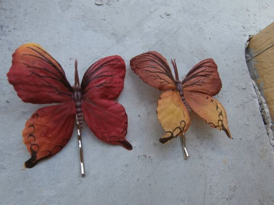 Fall Butterfly Bobby Pins by Shelithas on Etsy, $3.50
