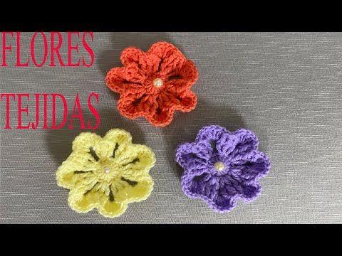 Como Tejer Flores Faciles Al Crochet Youtube Flores Tejidas A Crochet Flores Cómo Tejer