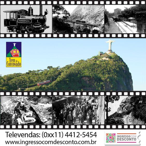 """Sabia que """"A Estrada de Ferro do Corcovado"""" foi a primeira ferrovia eletrificada do Brasil. Inaugurada em 1884 por D. Pedro II, é mais antiga do que o próprio monumento do Cristo Redentor. Aliás, foi o trem do Corcovado que, durante quatro anos transportou as peças do monumento, que desde então leva turistas e passageiros ao cumê do pico onde existe um mirante com vista de 360 graus para toda a cidade e Baía de Guanabara  Gostou? Então vem curtir! Compre agora: www.ingressocomdesconto.com.br"""