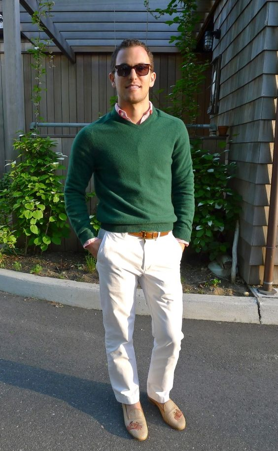 white pants green shirt - Pi Pants