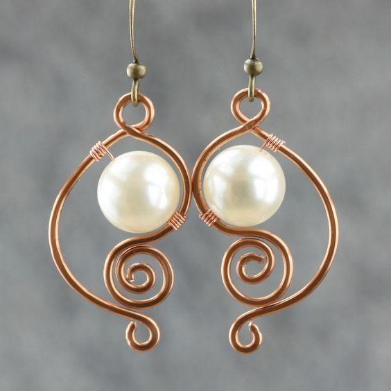 blanco aretes de perlas de latón mujer hecho a mano pendiente de la manera única de bricolaje de alambre de cobre joyería hecha a mano