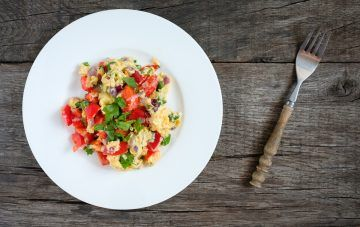 Scrambled Eggs with Tomatoes, Herbs, and Goat Cheese