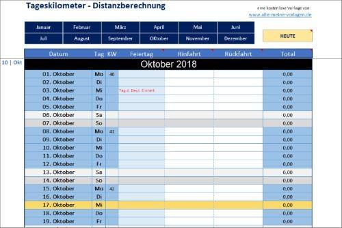 Tageskilometer Distanzberechnung Mit Excel Distanz Excel Vorlage Merken