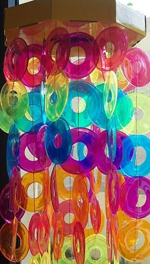 Rainbow suncatcher made from plastic cups saved in - Crafts made from plastic cups ...