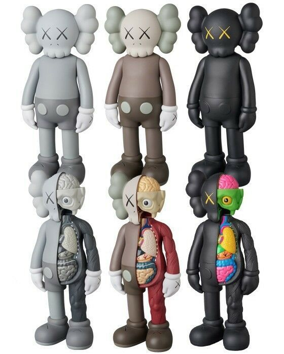 """KAWS COMPANION BLACK Flayed Open Edition 8/"""" Figure Half Dissected new in box"""