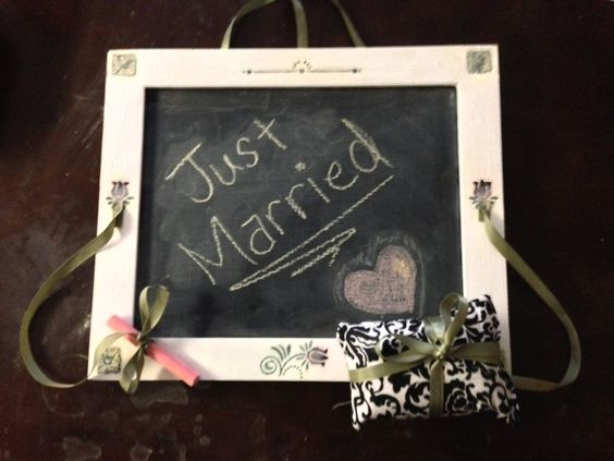 Wedding gift made from old picture frame and chalkboard paint.