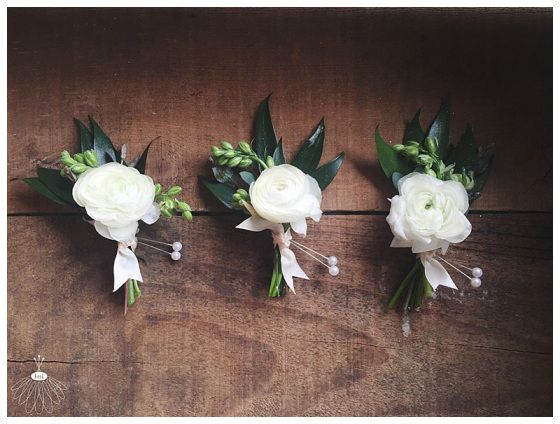 white tea rose boutonnieres with greenery - Google Search ...