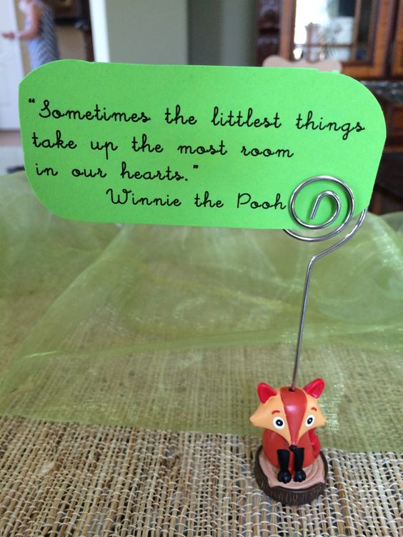 One of the baby quotes placed around the brunch buffet.  This one quotes Winnie the Pooh.