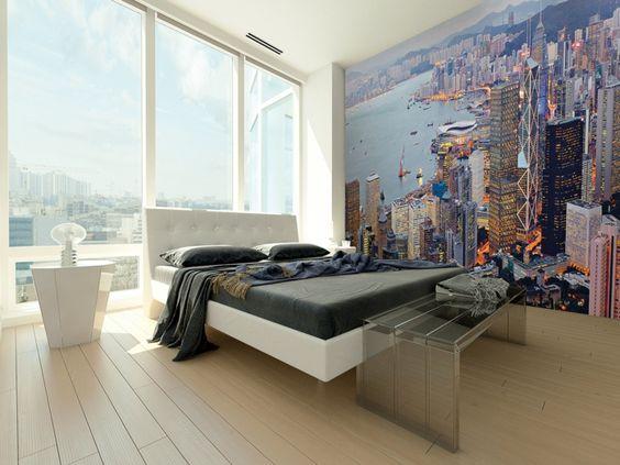 wandtapeten schlafzimmer wandgestaltung ideen schlafzimmerbank ...