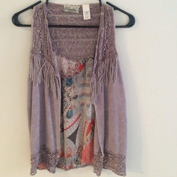 Gimmicks vest A lavender fringe vest with a chiffon detailed back. By Gimmicks Jackets & Coats Vests