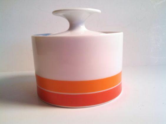 Thomas Rosenthal China Sugar Bowl. Mod Orange by VintageQuinnGifts