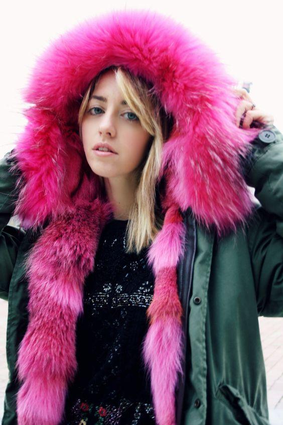 fx fur fourrure lady fur parka with pink. Black Bedroom Furniture Sets. Home Design Ideas