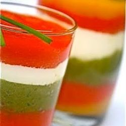 Bell pepper and yogurt Verrine - Four colour verrine, a variation of the Turkish roasted bell pepper and yogurt salad