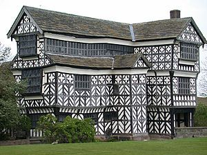 Little Moreton Hall is a moated 15th and 16th-century half-timbered manor house. The earliest parts of the house were built for the prosperous Cheshire landowner Sir Richard de Moreton around 1450; the remainder was constructed in various campaigns by three successive generations of the family until around 1580. The house remained in the ownership of the Moreton family for almost five centuries.