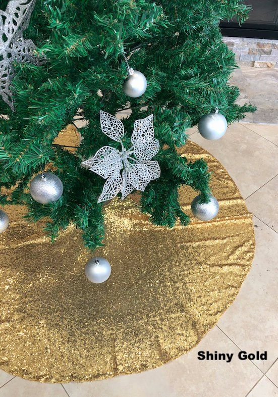Sequin Tree Skirt Christmas Tree Skirt Gold Sequence Tree Skirt Sequence Christmas Tree Skirt Ch Christmas Tree Skirt Christmas Bulbs Christmas Decorations