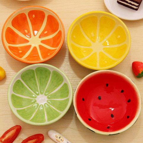 Set of 4 Hand Painted Ceramic Fruit Bowls: