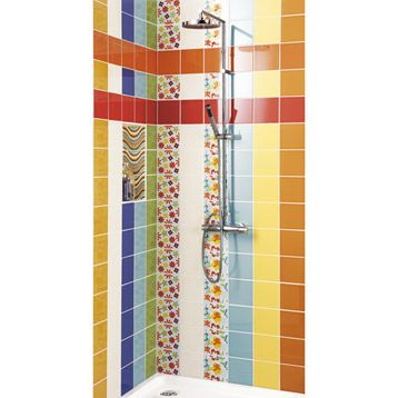 Bright shower tiles carrelage mural en fa ence astuce for Carrelage salle de bain orange