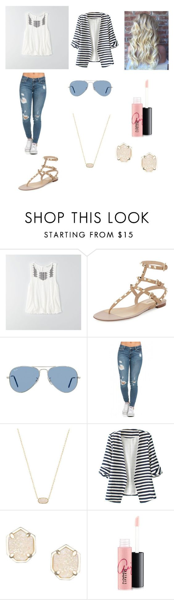 """""""❤️"""" by fashiongirl700 ❤ liked on Polyvore featuring American Eagle Outfitters, Valentino, Ray-Ban, Kendra Scott, WithChic and MAC Cosmetics"""
