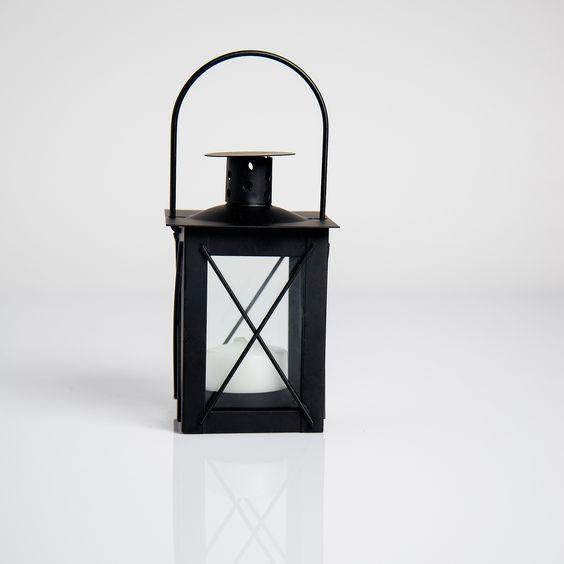 4 in. Black Geometric Metal Candle Lantern