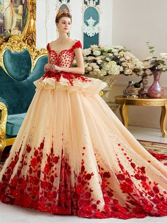 Amazing Scoop Ball Gown Color Wedding Dress
