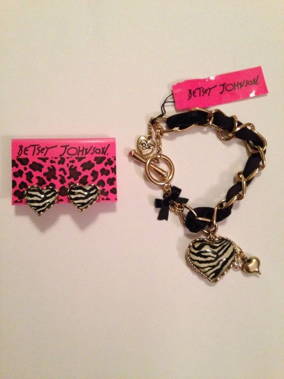 Betsey Johnson Zebra Heart Stud Earrings and Bracelet #BetseyJohnson