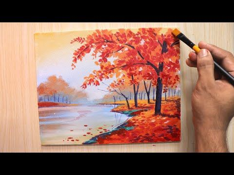 Acrylic Painting Of Spring Season Landscape Painting With Cherry Blossom Tree Youtube Cherry Blossom Painting Acrylic Cherry Blossom Painting Spring Painting