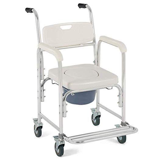 Giantex 3 In 1 Medical Transport Wheelchair Aluminum Bathroom
