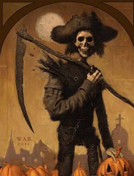 Obsessed With Skulls art искусство скелет череп картинка коса тыква хелуин шляпа перо луна 2011
