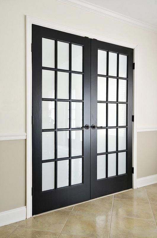 Painted Black Interior French Doors With Privacy Film French Doors Interior Black French Doors Black Interior Doors
