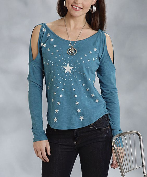 Another great find on #zulily! Roper Teal & White Star Cutout Top - Women & Plus by Roper #zulilyfinds