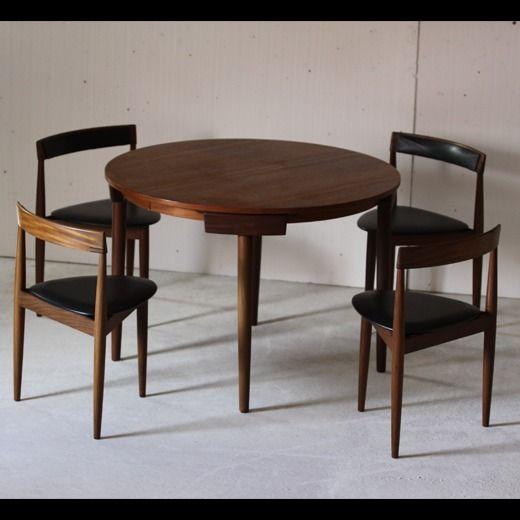 Hans Olsen Table Ronde Extensible Et 4 Chaises Tripodes 1953 Dessinee Par Le Designer Danois Hans Ols Table Ronde Extensible Table Ronde Rallonge 4 Chaises