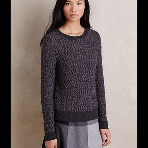 Anthropologie Arbor Pullover - Grey From web: A textured crewneck sweater from Moth's clean and linear knitwear collection. Textured polyester, wool, nylon sweaterknit. Style No. 4114265409756. Anthropologie Sweaters