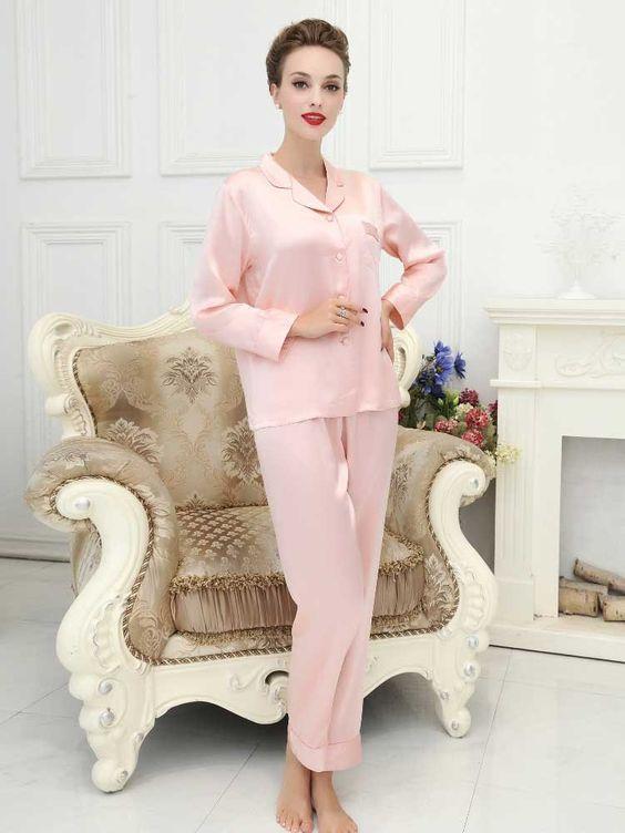 Baby Pink Silk Pajamas