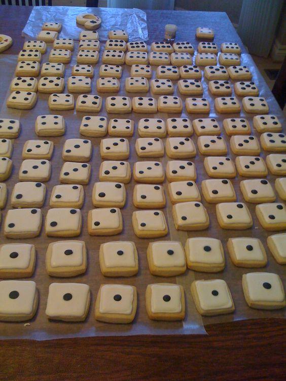 Casino Dice Cookies..great idea for bunco night!