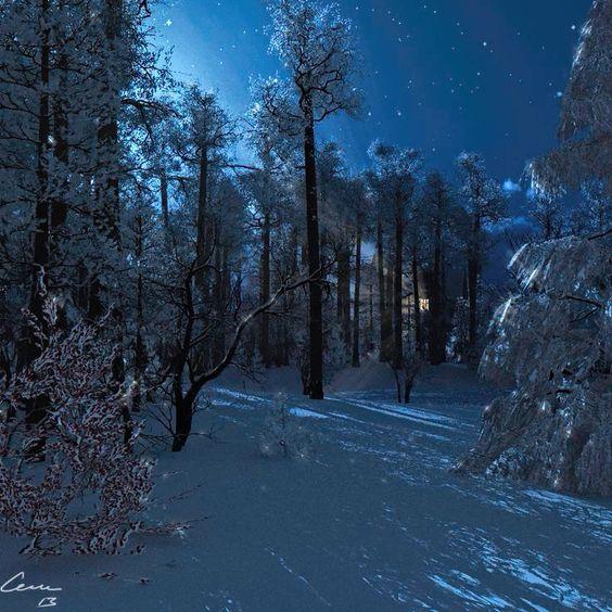 Winternight. Originally made as a Christmas card. Made in Vue Infinite.