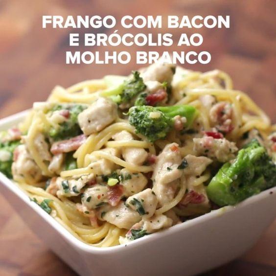 Frango com bacon e brócolis ao molho branco | Aprenda quatro receitas fáceis e…