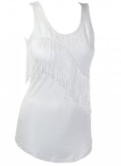 Chez Colori.ca  Camisole a franges couleur Blanc Size Small