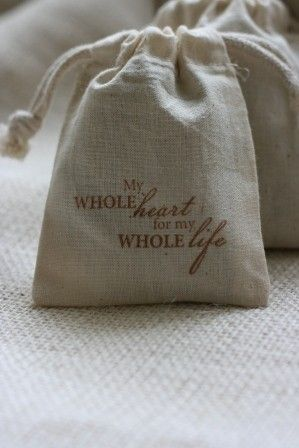 Muslin Favor Bags My Whole Heart X10 Wedding Gift For