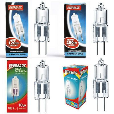 5 X Eveready Halogen Capsule Light Bulbs 10w 14w 20w G4 12v Eco Dimmable Ebay In 2020 Bulb Light Bulbs Halogen