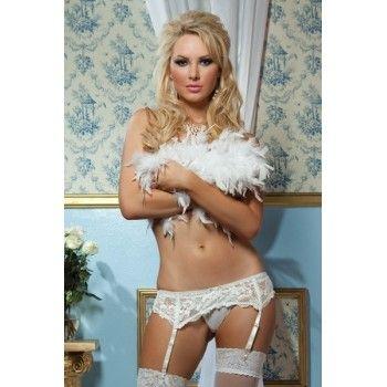 Liguero sexy de encaje blanco elástico y tanga blanco
